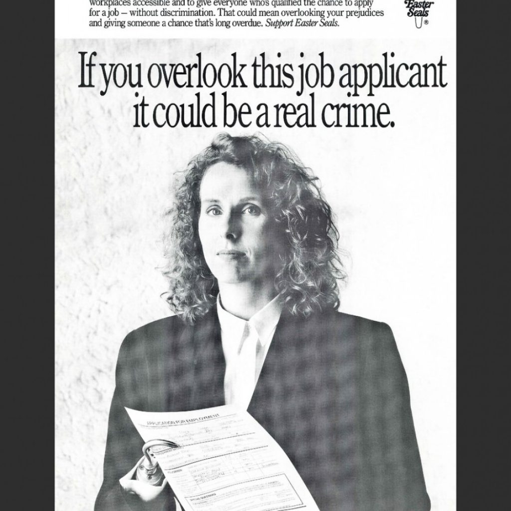 a photo of a person with a hook for a hand. The text on the photo says If you overlook this job applicant it could be a real crime.