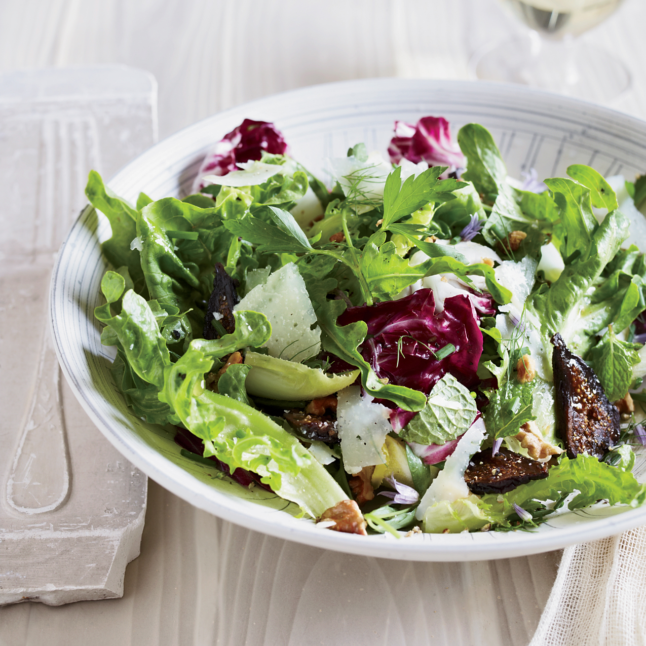 Herb Salad w/Walnuts, Figs & Sherry Dressing. A110525 Food & Wine. Well Being/Chef Recipes Made Easy. September 2011