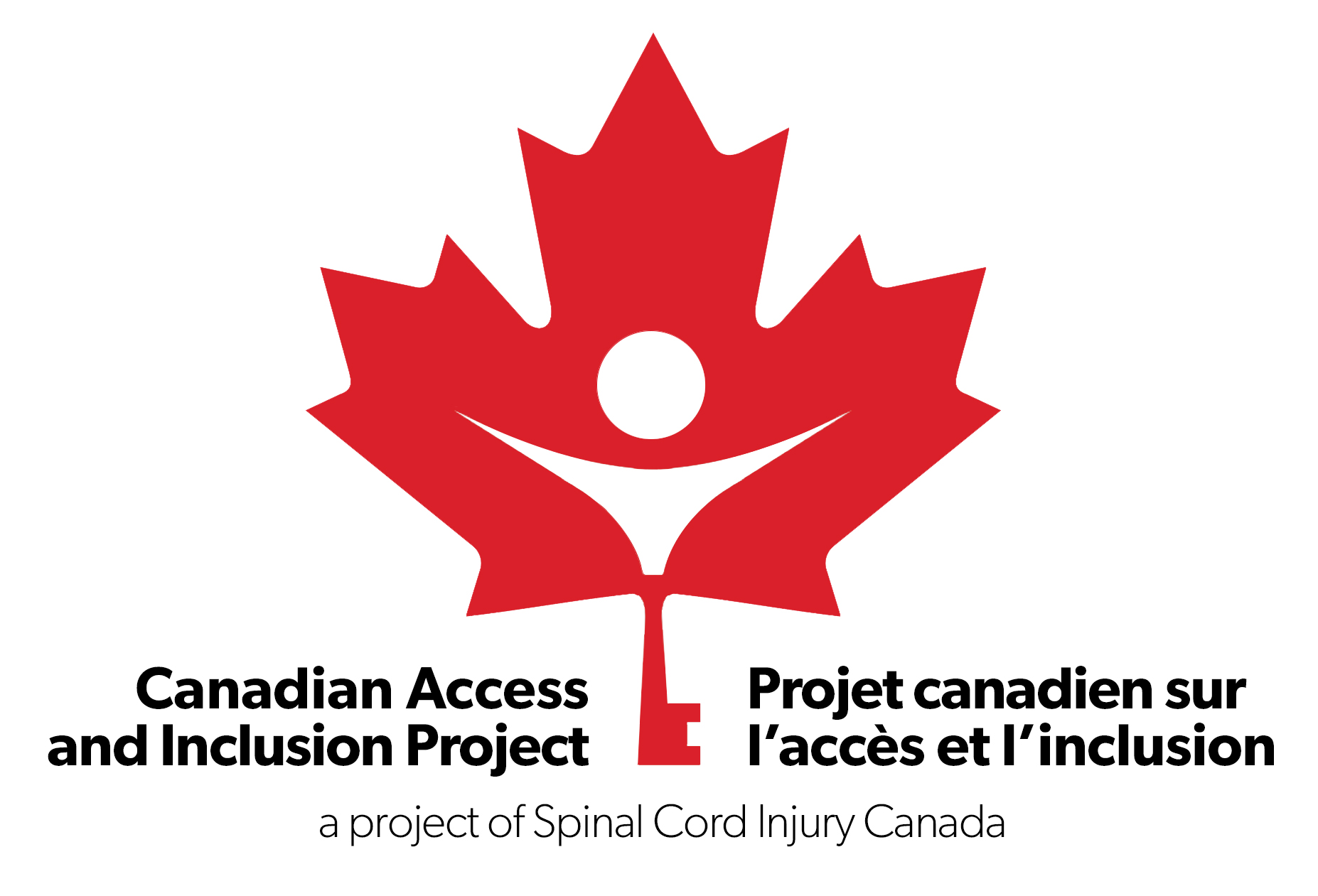 Canadian Access and Inclusion Project logo - maple leaf with a key on the stem