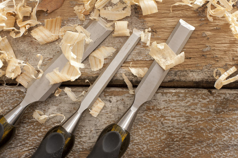 Set of three woodworking chisels