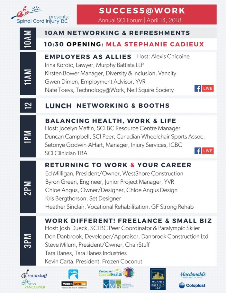 spinal cord injury health forum agenda speakers vancouver
