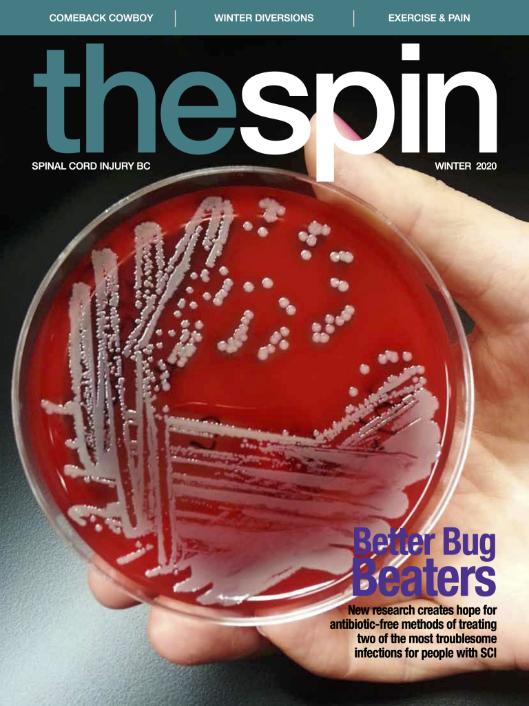 cover photo for The Spin Winter 2020 issue of a hand holding a petri dish with multiple swabs on it