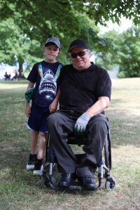vince and grandson at bbq