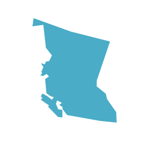 a graphic image in the shape of the province of BC