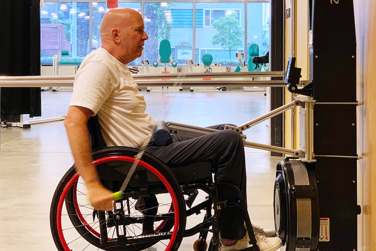 SCI BC peer Derek Lunden enjoys the workout on PARC's aSKI